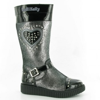 Lelli Kelly '6070' Girls Boots (Black Patent/Silver)