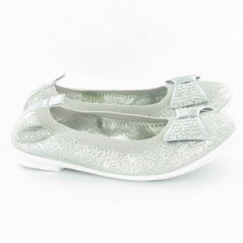 Lelli Kelly 'Brilliant Glitter' Ballerina Shoes (Silver)