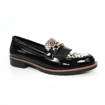 Lunar 'Antonella' Ladies Loafers (Black Patent/Snake)