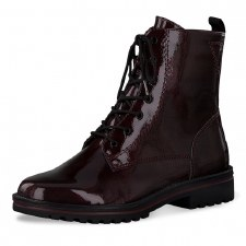 Tamaris '25209' Ladies Ankle Boots (Bordo Patent)