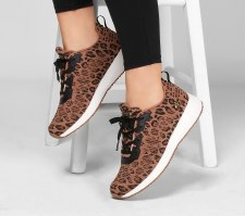 Skechers 'BOBS Sport Squad - Mighty Cat' Ladies Trainers (Leopard Print)