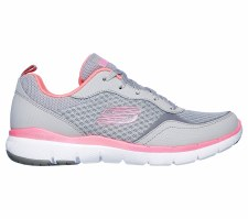 Skechers 'Flex Appeal 3.0 - Go Forward' Ladies Trainers (Grey/Pink)
