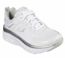 Skechers 'D'Lux Walker - Infinite Motion' Ladies Trainers (White/Silver)