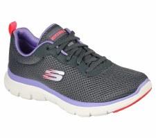 Skechers 'Flex Appeal - Brilliant View' Ladies Trainers (Grey/Purple)