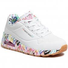 Skechers 'Street Uno - Loving Love' Ladies Shoes (White Multi)