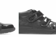 Clarks 'Lilfolk Dot Inf' Girls School Shoes (Black/Black Patent)