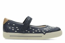 Clarks 'Lilfolk Lou Inf' Girls Shoes (Navy)