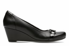 Clarks 'Flores Poppy' Ladies Wedge Shoes (Black Leather)
