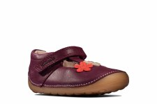 Clarks 'Tiny Sun' Girls Pre Walkers (Berry Leather)