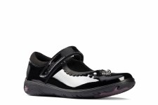 Clarks 'Sea Shimmer Toddler' Girls School Shoes (Black Patent)
