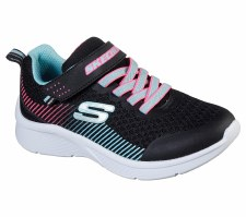 Skechers 'Microspec' Girls Trainers (Black/Aqua)