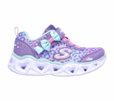 Skechers 'S Lights: Heart Lights - Untamed Heart' Girls Trainers (Lavender)