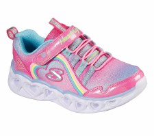 Skechers 'S Lights: Heart Lights - Rainbow Lux' Girls Trainers (Pink Multi)