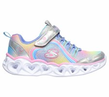 Skechers 'S Lights: Heart Lights - Rainbow Lux' Girls Trainers (Silver Multi)