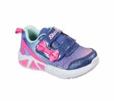 Skechers 'S Lights: Tri-Brights - Lil Gleam' Girls Trainers (Blue/Pink)