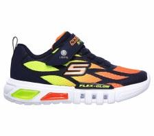 Skechers 'S Lights: Flex- Glow - Dezlo' Boys Trainers (Navy/Orange)