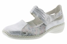 Rieker '413G3' Ladies Shoes (White/Metallic)