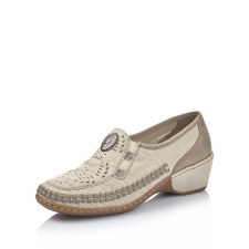 Rieker '47196' Ladies Shoes (Cream/Gold)
