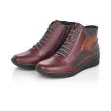 Rieker '53774' Ladies Ankle Boots (Wine Combi)