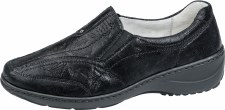 Waldlaufer '607504' Ladies Wide Fitting Shoes (Black Print)