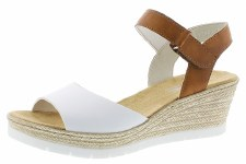 Rieker '61953' Ladies Wedge Sandals (White/Tan)
