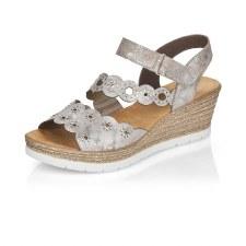 Rieker '619C5' Ladies Wedge Sandals (Rose Metallic)