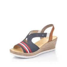 Rieker '619S6' Ladies Wedge Sandals (Navy/Red)