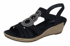 Rieker '62459' Ladies Wedge Sandals (Black)