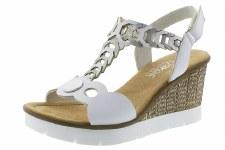 Rieker '655H4' Ladies Wedge Sandals (White/Silver)