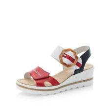 Rieker '67476' Ladies Wedge Sandals (Navy/Red)