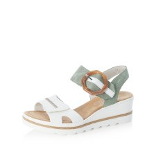 Rieker '67476' Ladies Wedge Sandals (White/Mint)