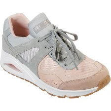 Skechers 'Street Uno - Super Fresh' Ladies Trainers (Grey/Pink)