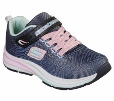 Skechers 'Double Strides - Duo Dash' Girls Trainers (Navy/Pink)