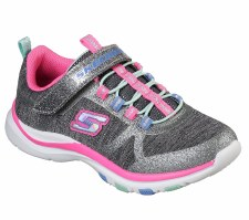 Skechers 'Trainer Lite - Jazzy Jumpers Girls Trainers (Grey/Pink)