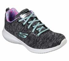 Skechers 'Ultra Flex - First Choice' Girls Trainers (Black/Aqua)