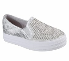 Skechers 'Double Up - Shiny Dancer' Girls Shoes (Silver)