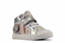 Clarks 'City Pop Toddler' Girls Shoes (Silver Combi)