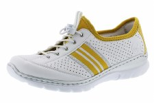 Rieker 'L32R0' Ladies Shoes (White/Yellow)