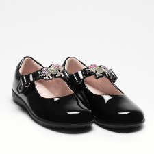 Lell Kelly '8342 Blossom' Girls Wide Fitting School Shoes (Black Patent)