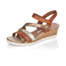 Remonte 'D6251' Ladies Sandals (Tan/Gold)