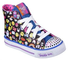 Skechers 'Twinkle Toes: Shuffles - Chat Time' Girls Shoes (Black Multi)