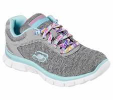 Skechers 'Skech Appeal - Eye Catcher' Girls Sport Shoes (Grey/Aqua)