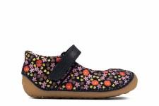 Clarks 'Tiny Mist Toddler' Girls Shoes (Navy Floral)