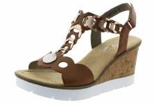 Rieker 'V55H4' Ladies Wedge Sandals (Brown Metallic)