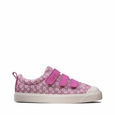 Clarks 'City Vibe' Childrens Canvas Shoes (Pink Floral)