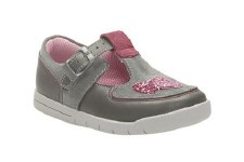 Clarks 'Crazy Anya' Girls First Shoes (Grey Combi)