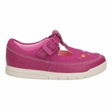 Clarks 'Crazy Dot' Girls First Shoes (Hot Pink)