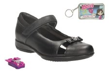 Clarks 'DaisyLocket Inf' Girls School Shoes (Black)