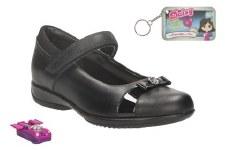 Clarks 'DaisyLocket Inf' Girls School Shoes (Black)