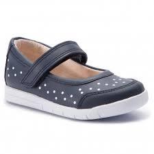 Clarks 'Emery Halo Kids' Girls Shoes (Navy Spot)